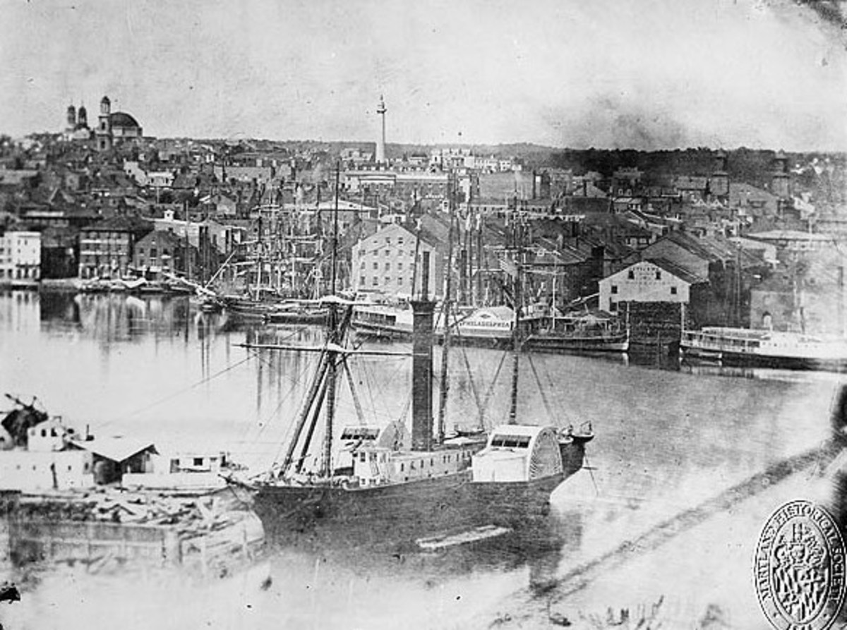 A steamship at Federal Hill in 1849. The Basilica and Washington monument are in the background.
