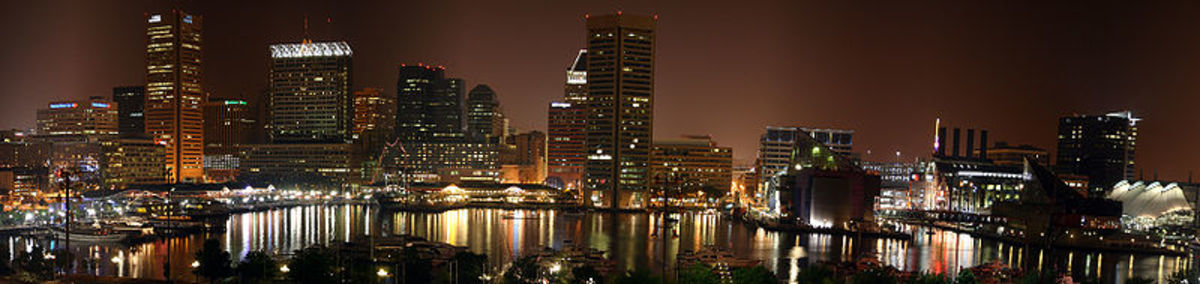 Baltimore's Inner Harbor as see from Federal Hill in summer of 2005.