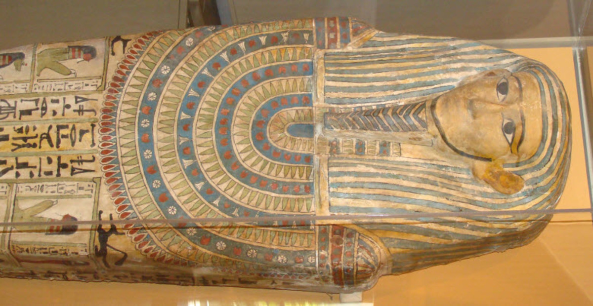 Egyptian Mummies - This is a Photograph of a Mummy Coffin (Sarcophagus) Found in the San Diego Museum. It dates from between 650 B.C to 330 B.C. The coffin belonged to a woman despite the beard painted onto the image of the deceased.