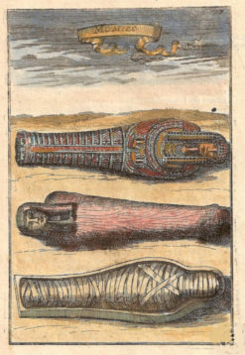 Illustration of Mummies Lying in their Sarcophagus