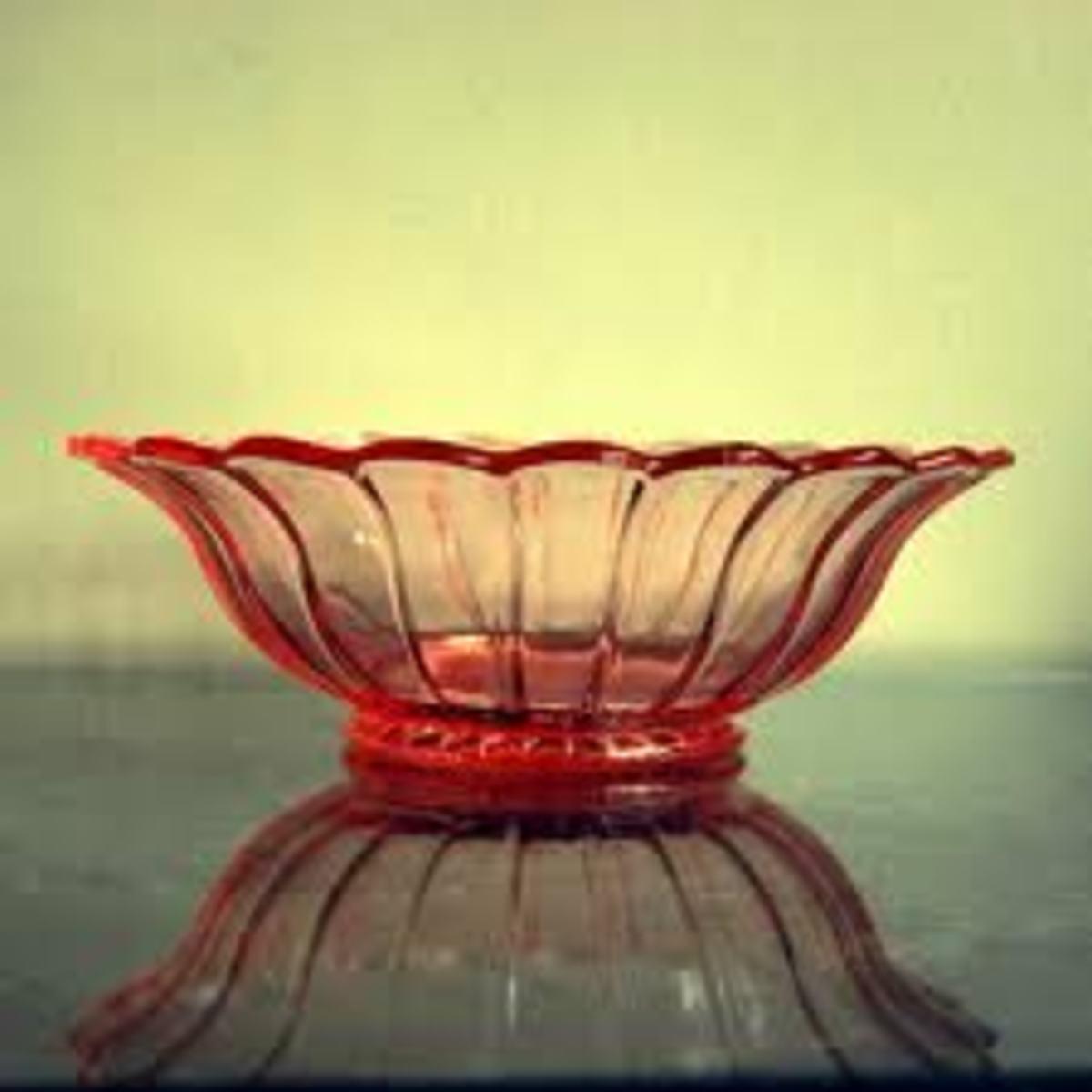 pink depression glass bowl