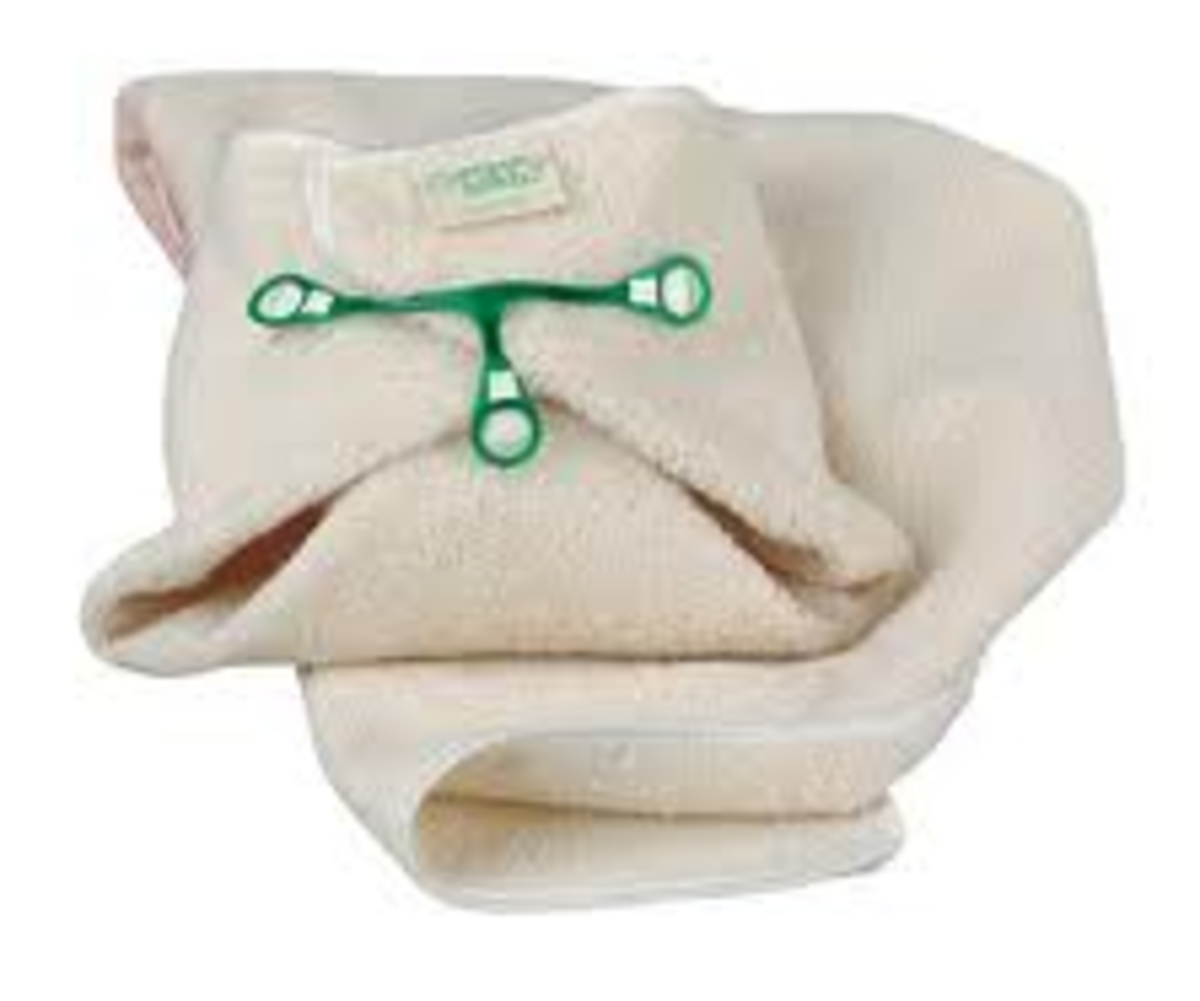 Secured with a Snappi or Nappy Nippa, a terry nappy is all you need to nappy/diaper baby from birth to potty training.