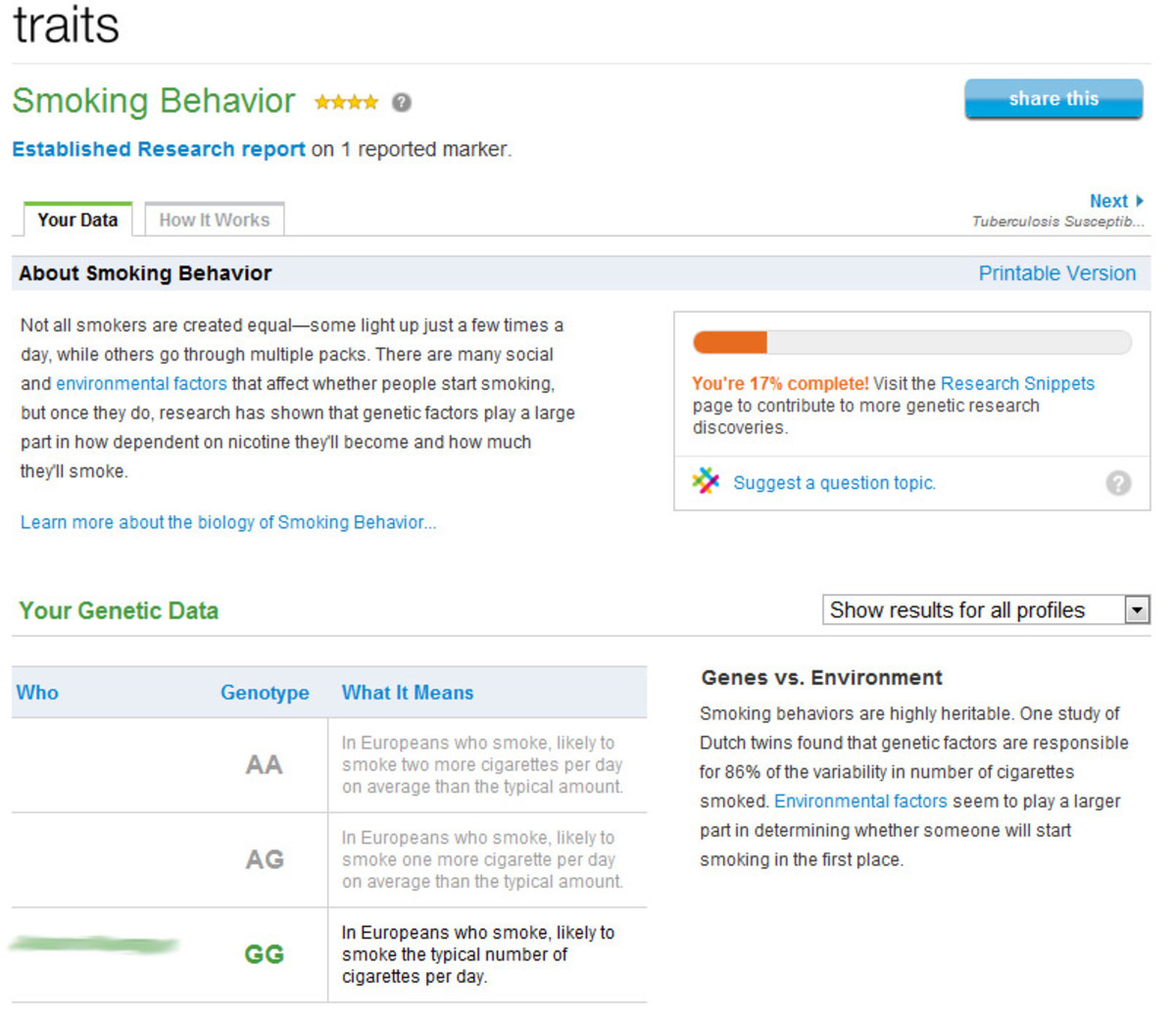 The Traits detail page shows your genotype and its impact on the analyzed trait.
