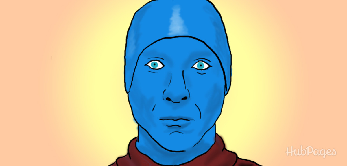 Dress up as a man from the Blue Man Group for Halloween.