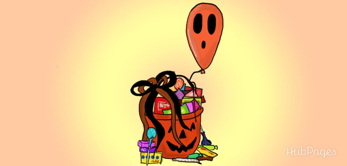 Make a cheap homemade gift basket for Halloween.