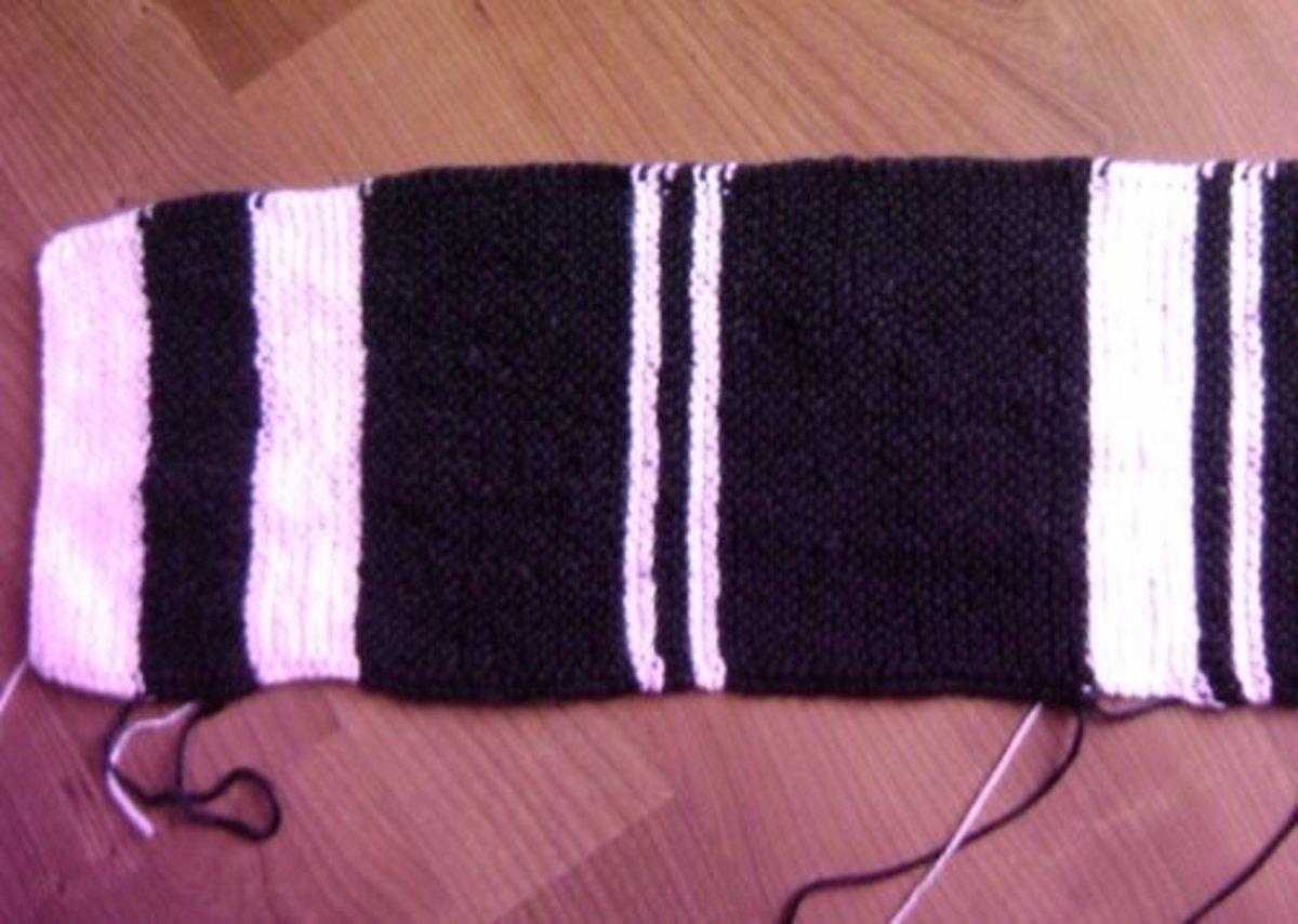 Striped scarf in progress