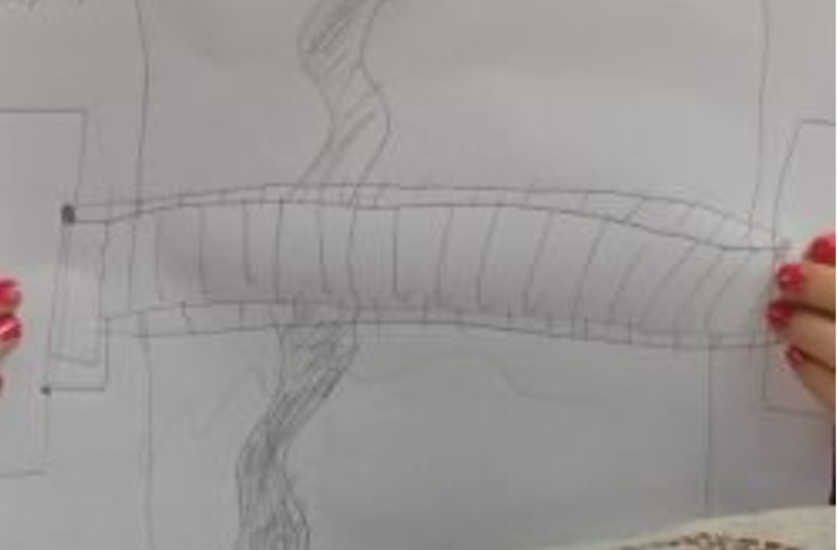 One student's drawing of a bridge