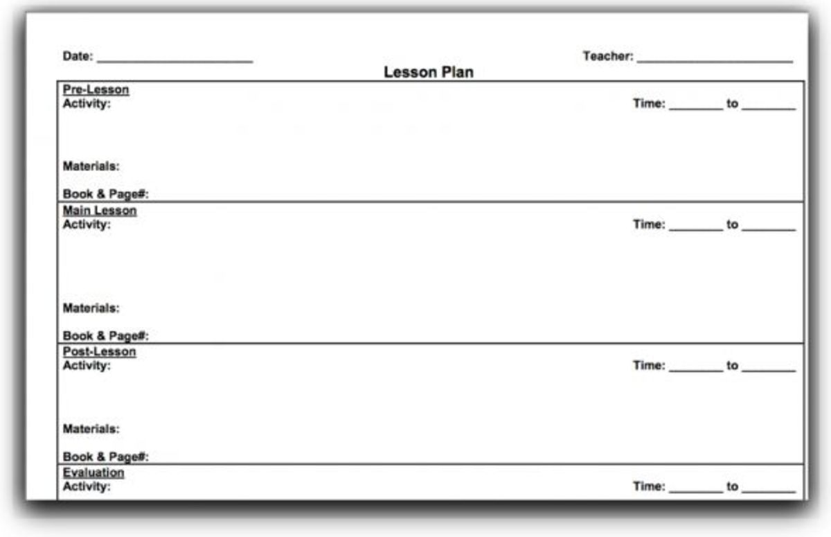 Top Lesson Plan Template Forms And Websites HubPages - Blank lesson plan template