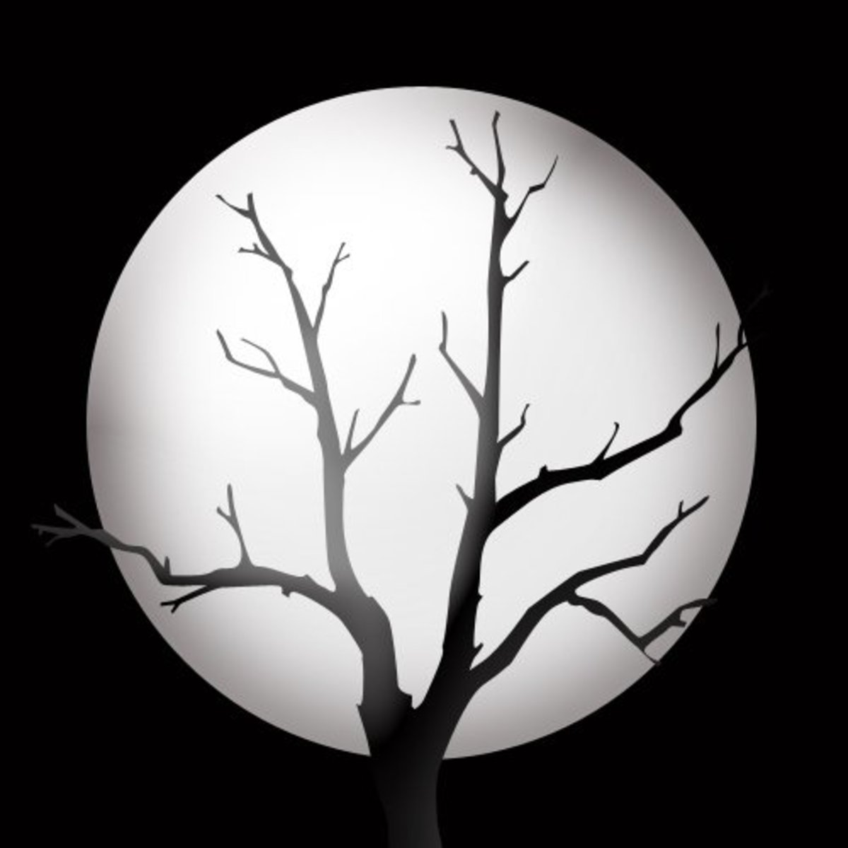 Full moon and tree silhouette graphic.