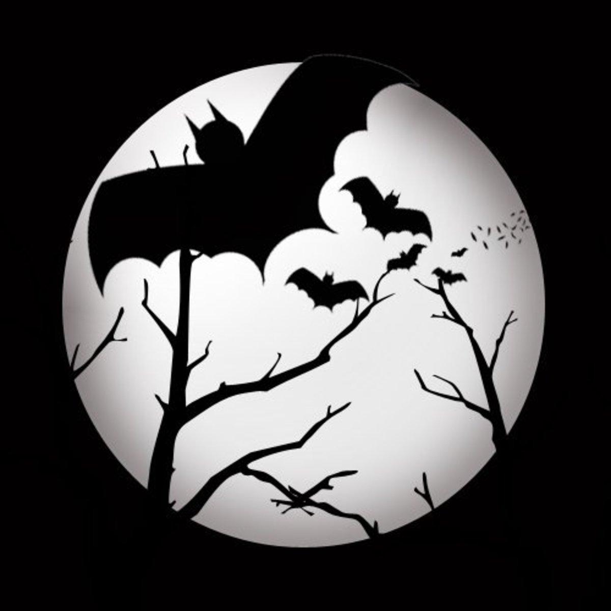 Spooky vampire bats silhouette in full moon.