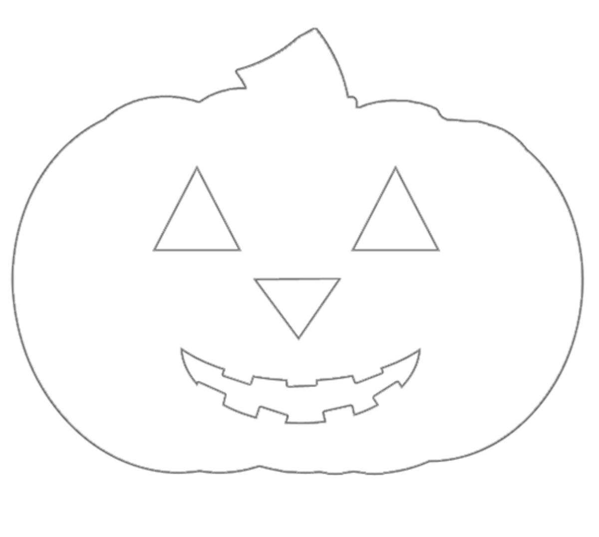 A jack-o-lantern printable Halloween coloring image.