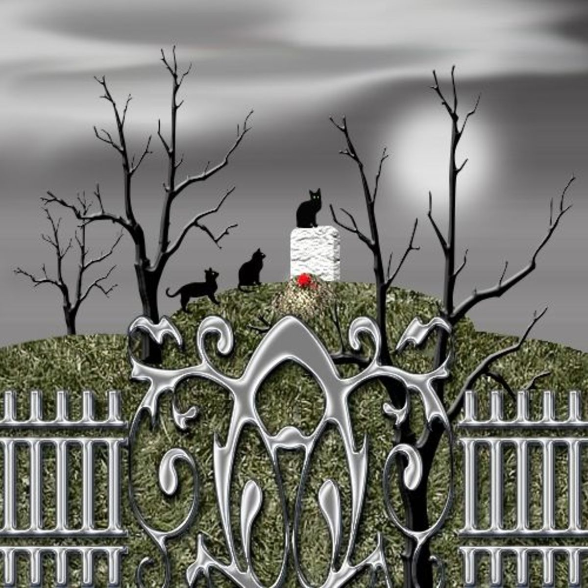 Black cats on cemetery gravestones  clip art.