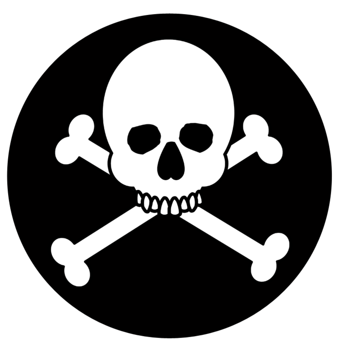 Black and white skull and crossbones.