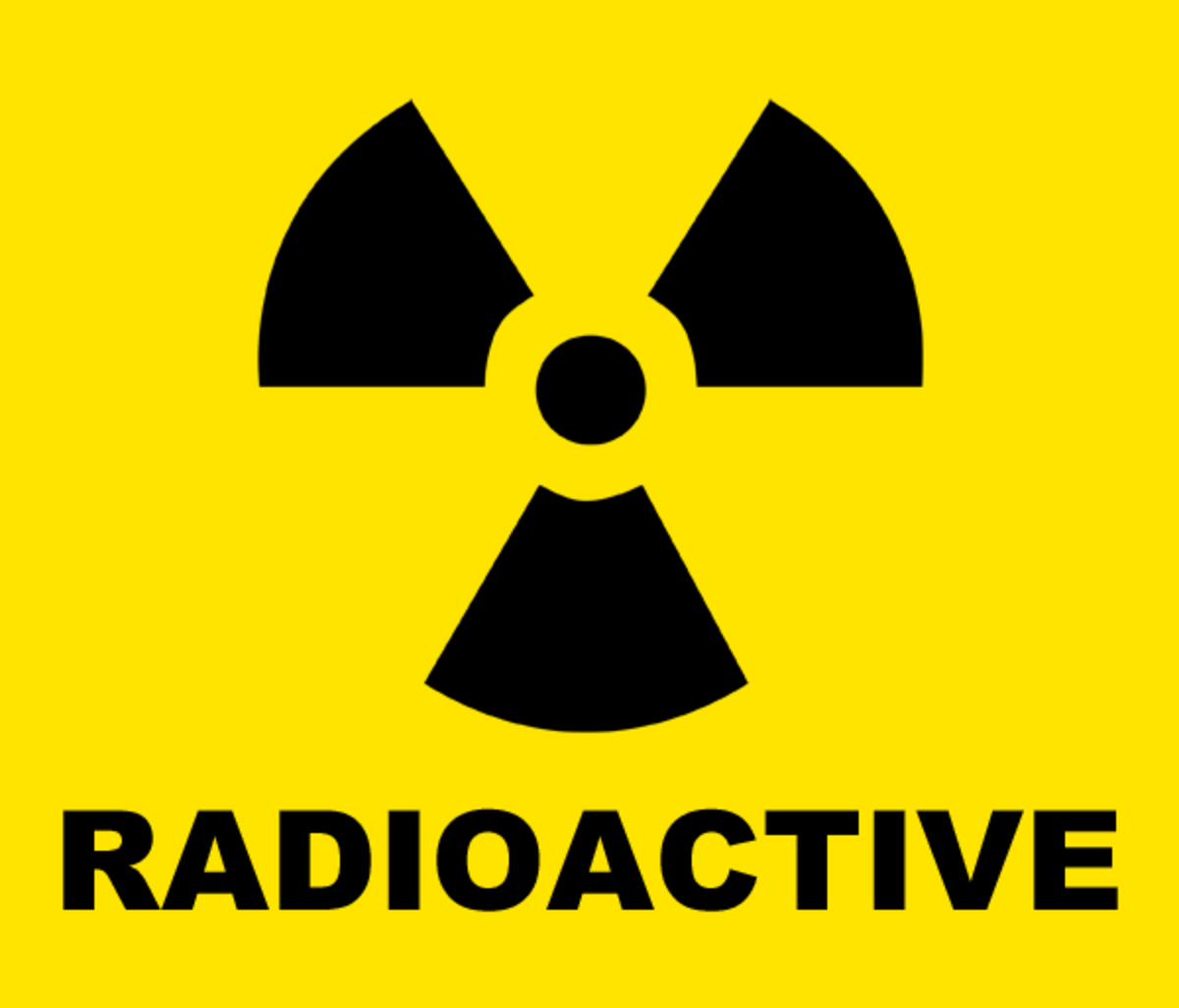 Yellow and black RADIOACTIVE symbol clip art.