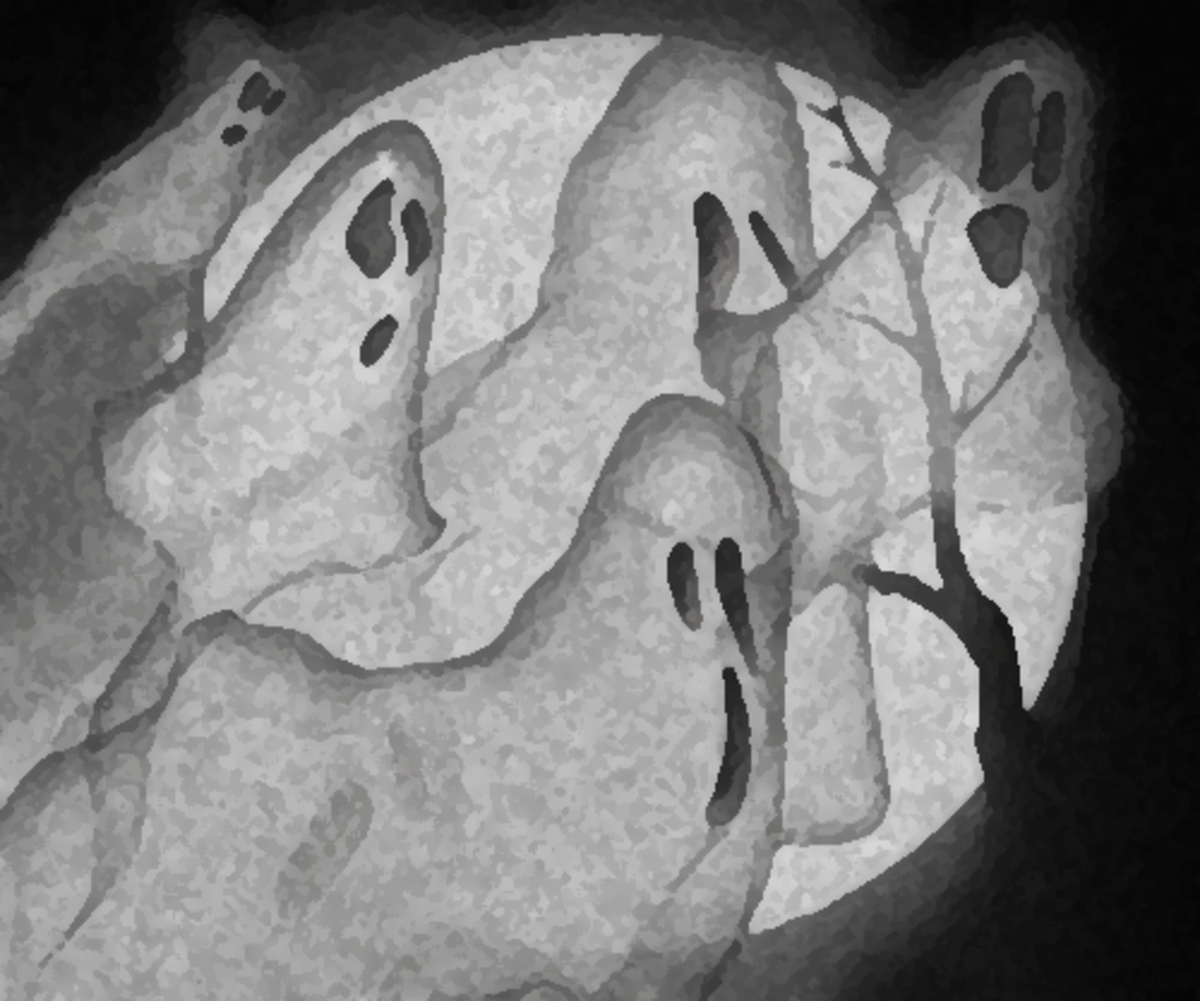 Spooky ghosts in full moon clip art.