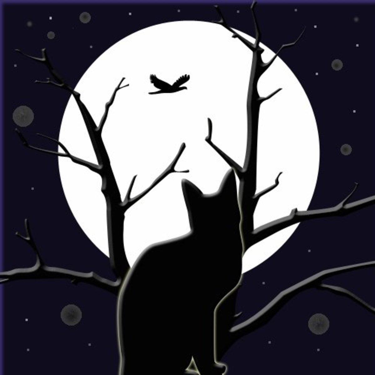 A black cat silhouette in a bare tree with a full moon image.