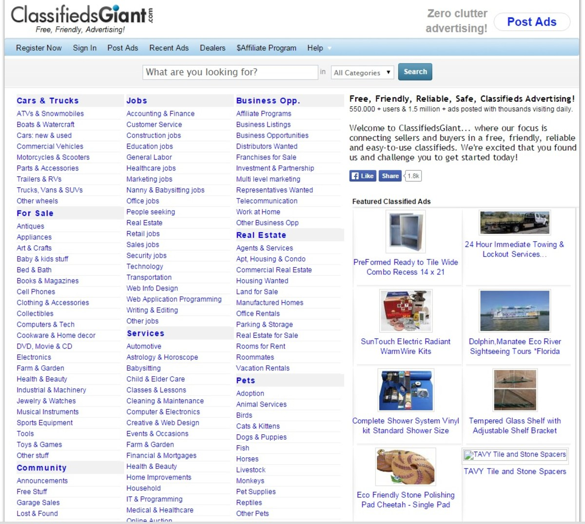 ClassifiedsGiant Website