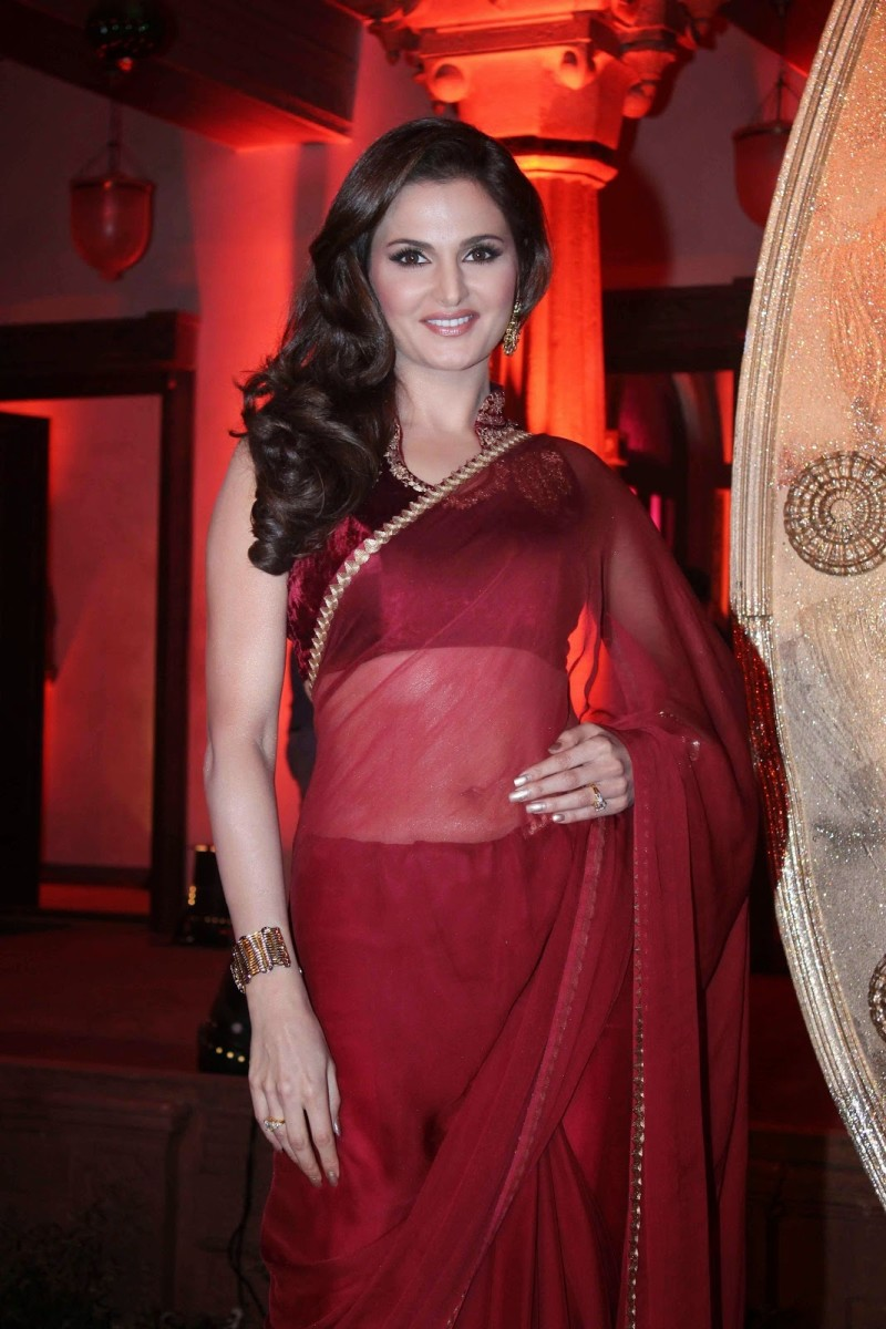Another view: a maroon chiffon saree with a simple maroon velvet blouse.