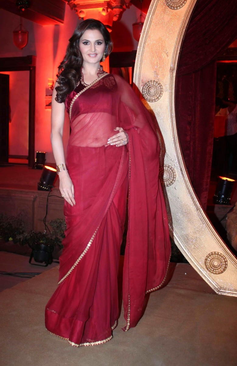 A maroon chiffon saree with a simple maroon velvet blouse.