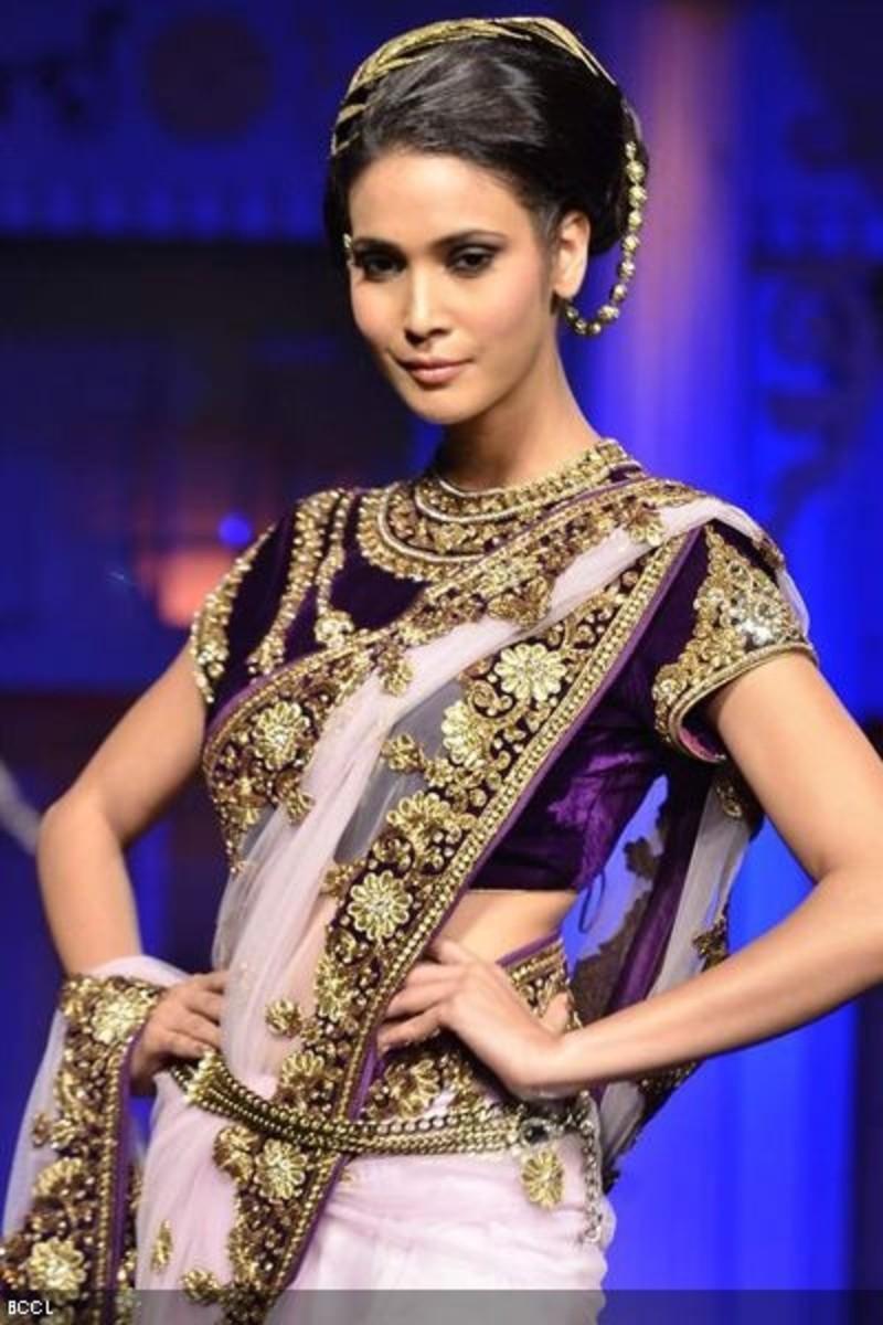 Deep purple designer velvet saree blouse
