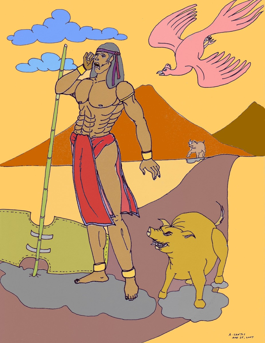 An illustration of Lam-ang, a character in Philippine Epics