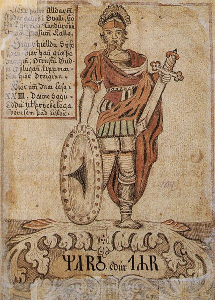 The god Tr or Tiw, identified with Mars, after whom Tuesday is named.
