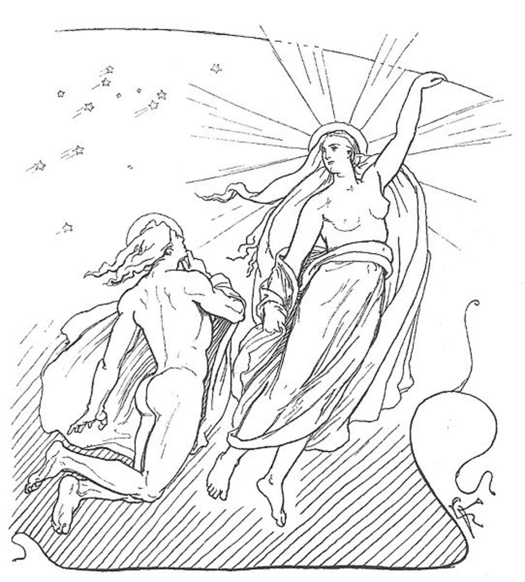 A depiction of Mni, the personified moon, and his sister Sl, the personified sun