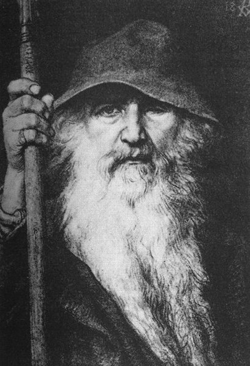 "The god Woden, after whom 'Wednesday' was named.""Odin, the Wanderer"""