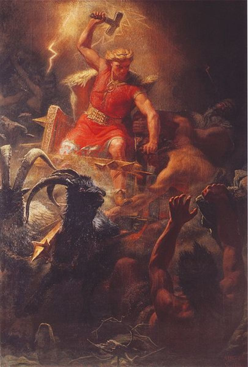 The English god Thunor (the Norse Thor), after whom Thursday is named, by Mrten Eskil Winge, 1872