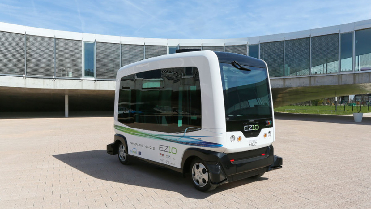 An EZ-10 Autonomous Shuttle of Ligier Group, France. A new type of driverless shuttle vehicle has been developed thanks to innovative computer vision guidance technology that enables the vehicle to locate itself on a roadway reliably & inexpensively.