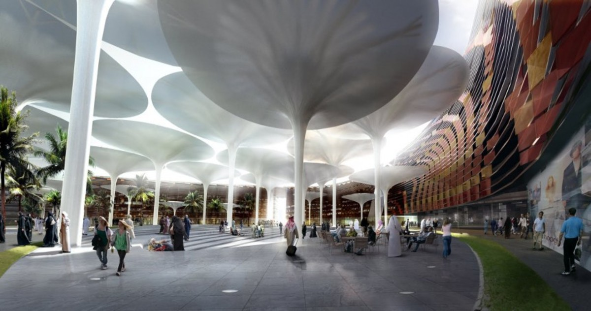 Laboratory for Visionary Architecture (LAVA) have won a competition to design the urban centre of Masdar. Giant umbrellas will provide movable shade in the day, store heat, then close and release the heat at night.