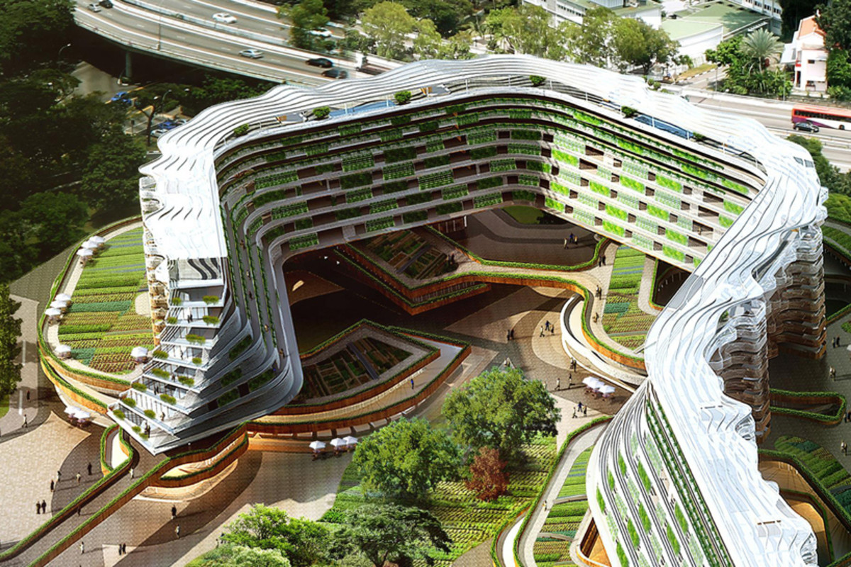 Residential Living with Urban Farming Conceptual project by SPARK in Singapore, designed to address the issue of Singapore 's rapidly aging population