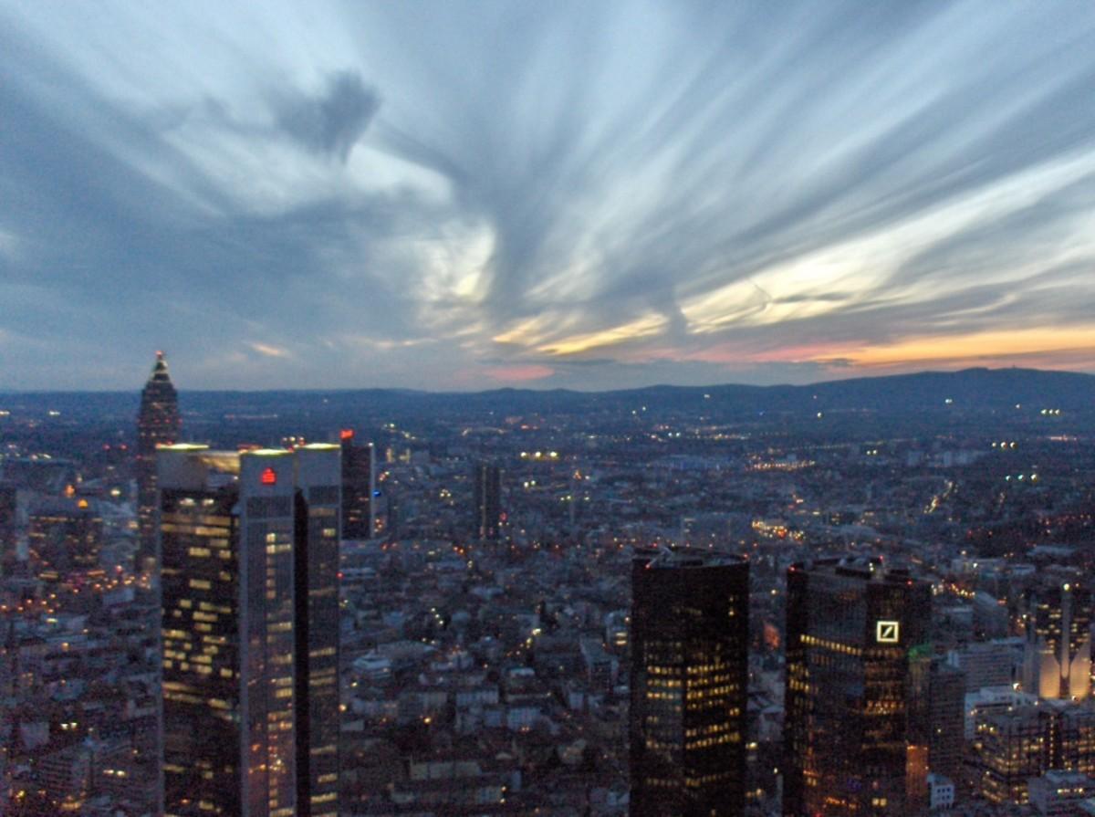 The Frankfurt skyline at night