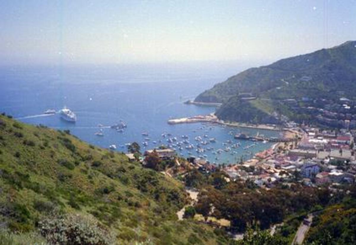 A cruise ship anchored off Catalina island, a popular port-of-call for LA cruises