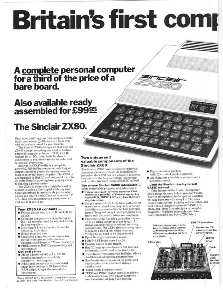 Note the price of the ZX80...