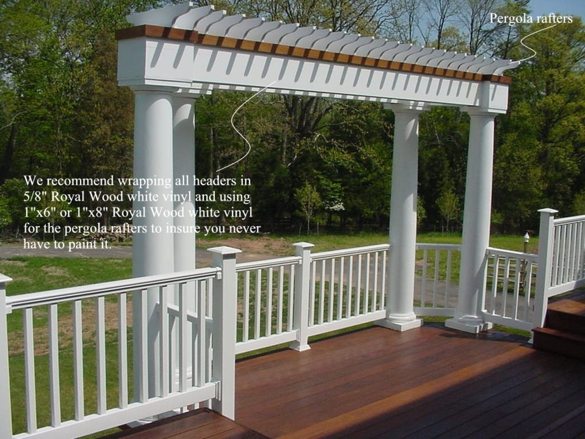 another design option for your railing - columns and a pergola together