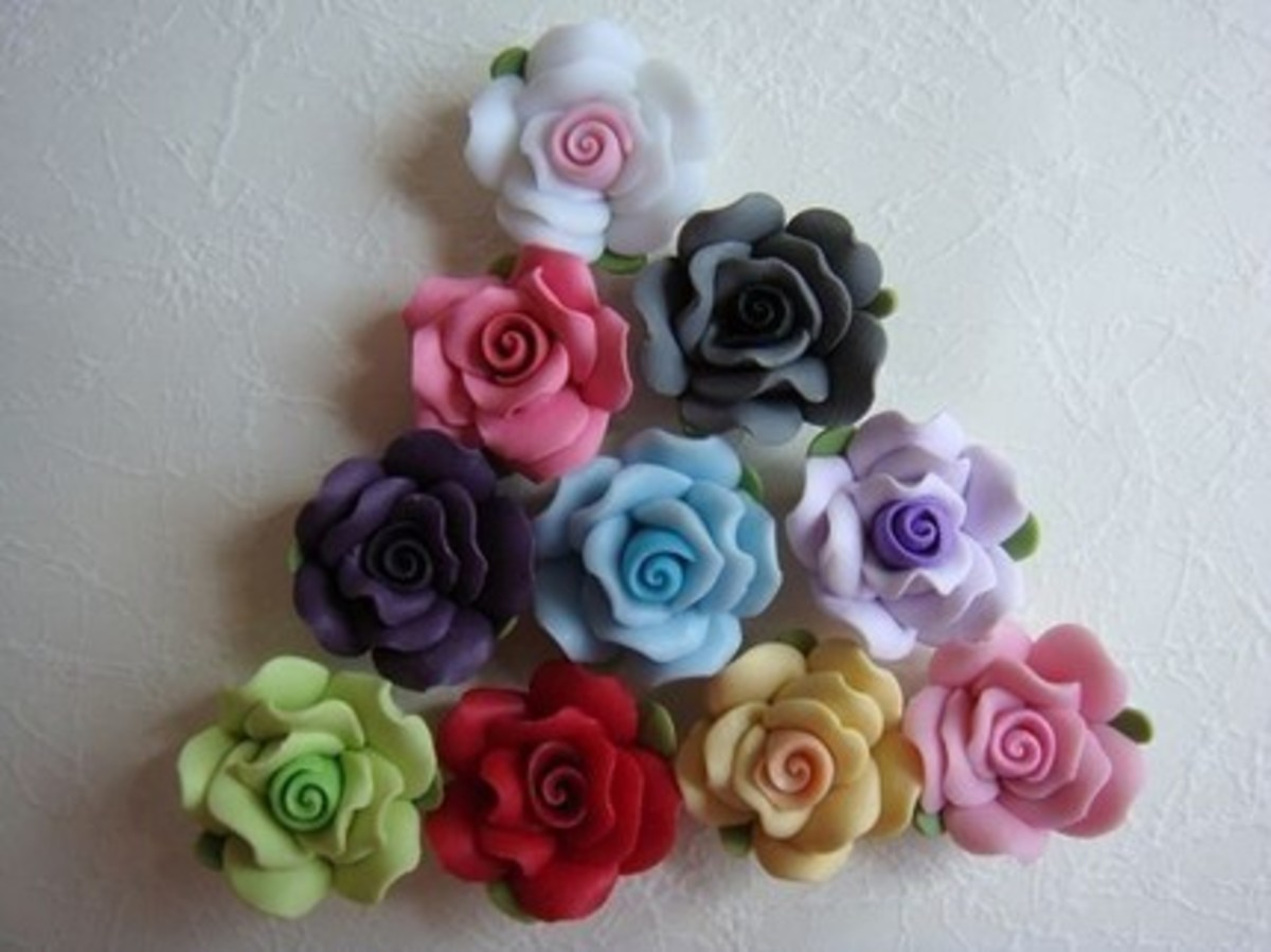 Polymer clay roses.