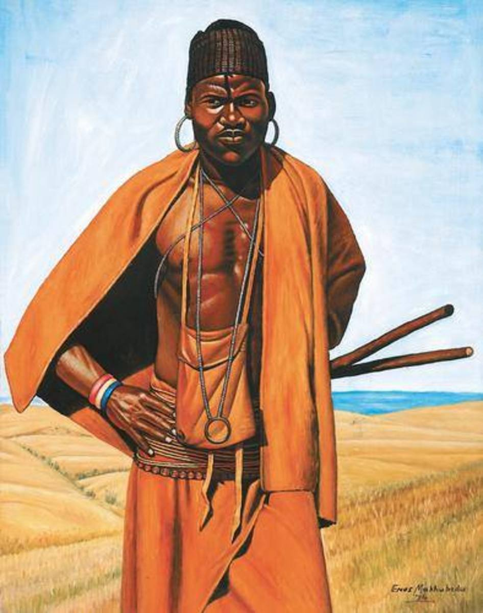 In African herder (plate 221), the painstaking care with which this eligible young Pondo man has dressed himself articulates his self-assertion and readiness to advance into the future. The fighting sticks showing from beneath his cloak also indicate