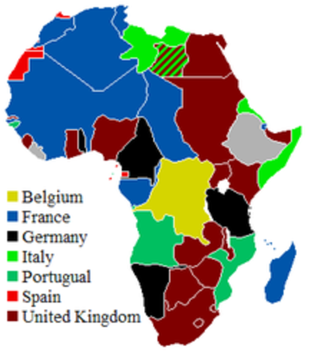 The Map of Africa showing the colonization of Africa by European countries