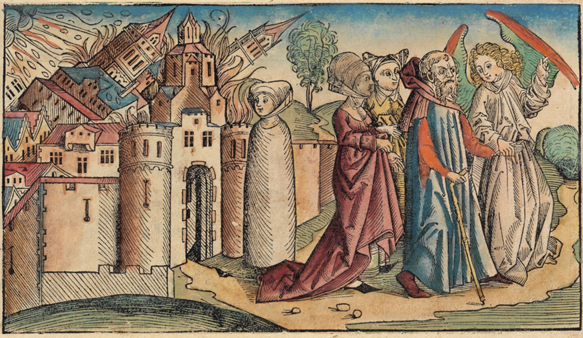 Lot's wife turns around and becomes a pillar of salt (center).