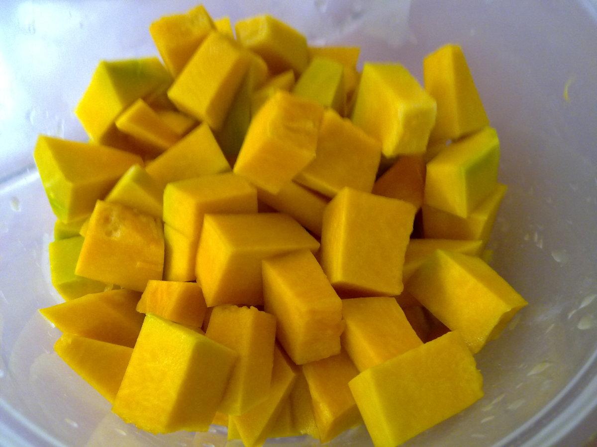 cubes of pumpkins
