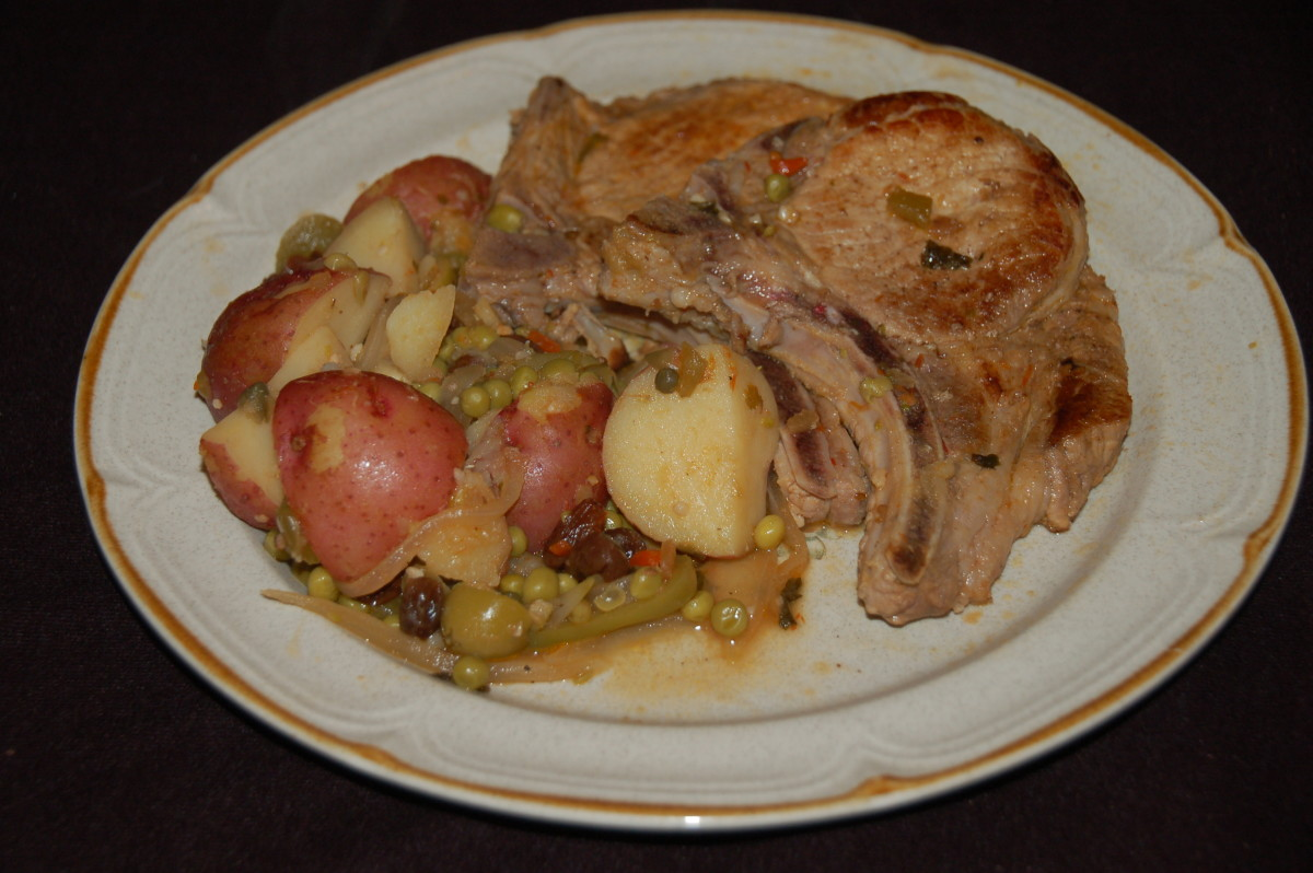 Cuban Style Pork Chops With Potatoes Fricassee