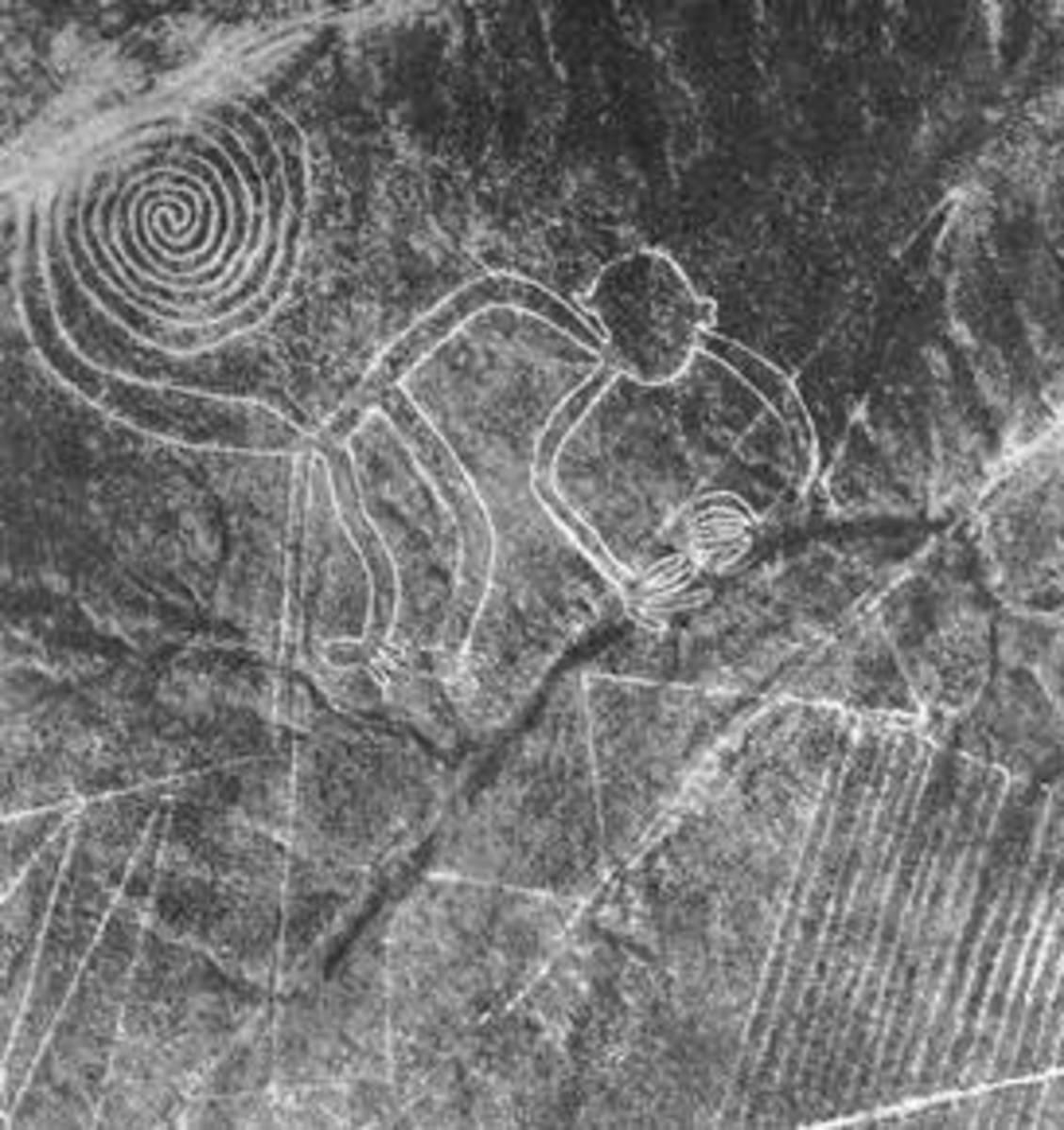 Nasca geoglyph of a monkey