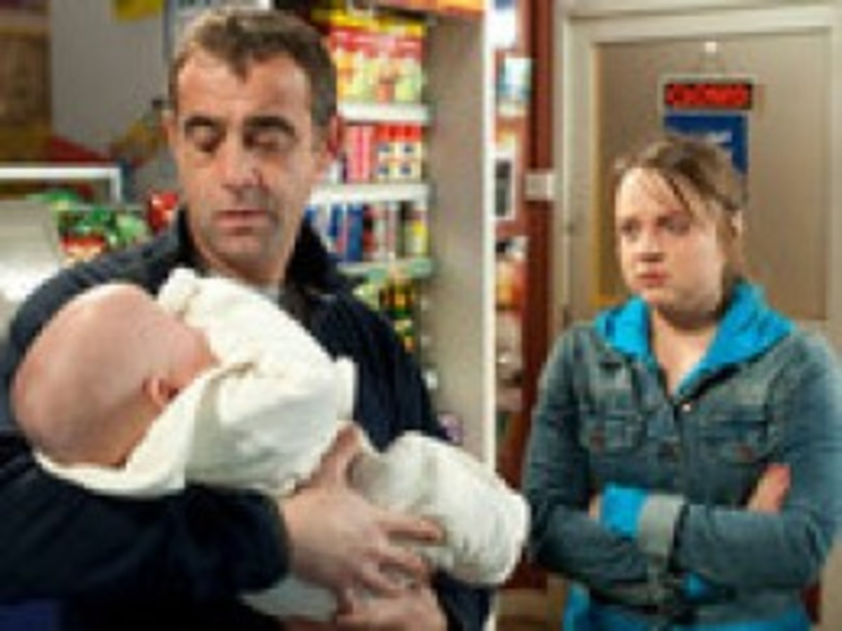 Real father Kevin says Goodbye to son Jack, and leaves Molly and Jack in the shop. And just after the gas explosion goes off