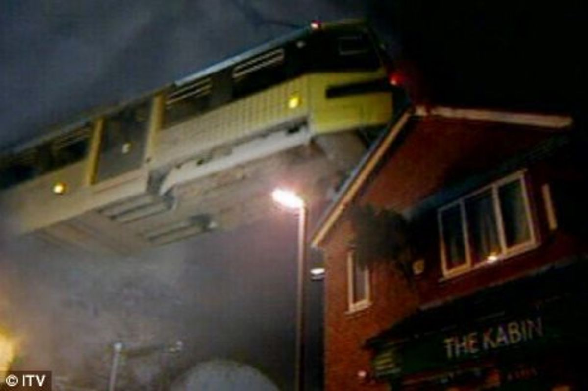 as we see the out of control tram flying of the viaduct