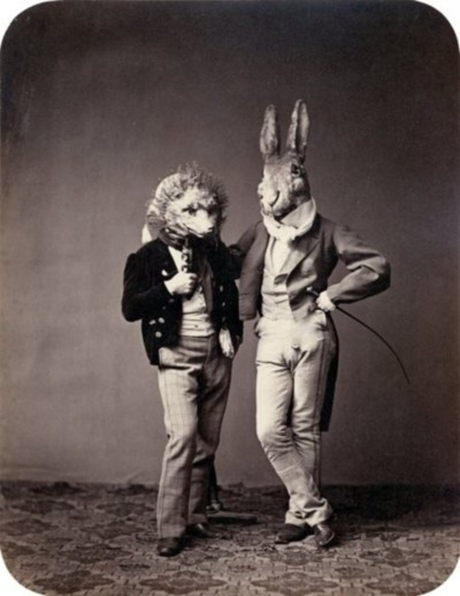Two Victorian men dressed up in rabbit and hedgehog costumes.