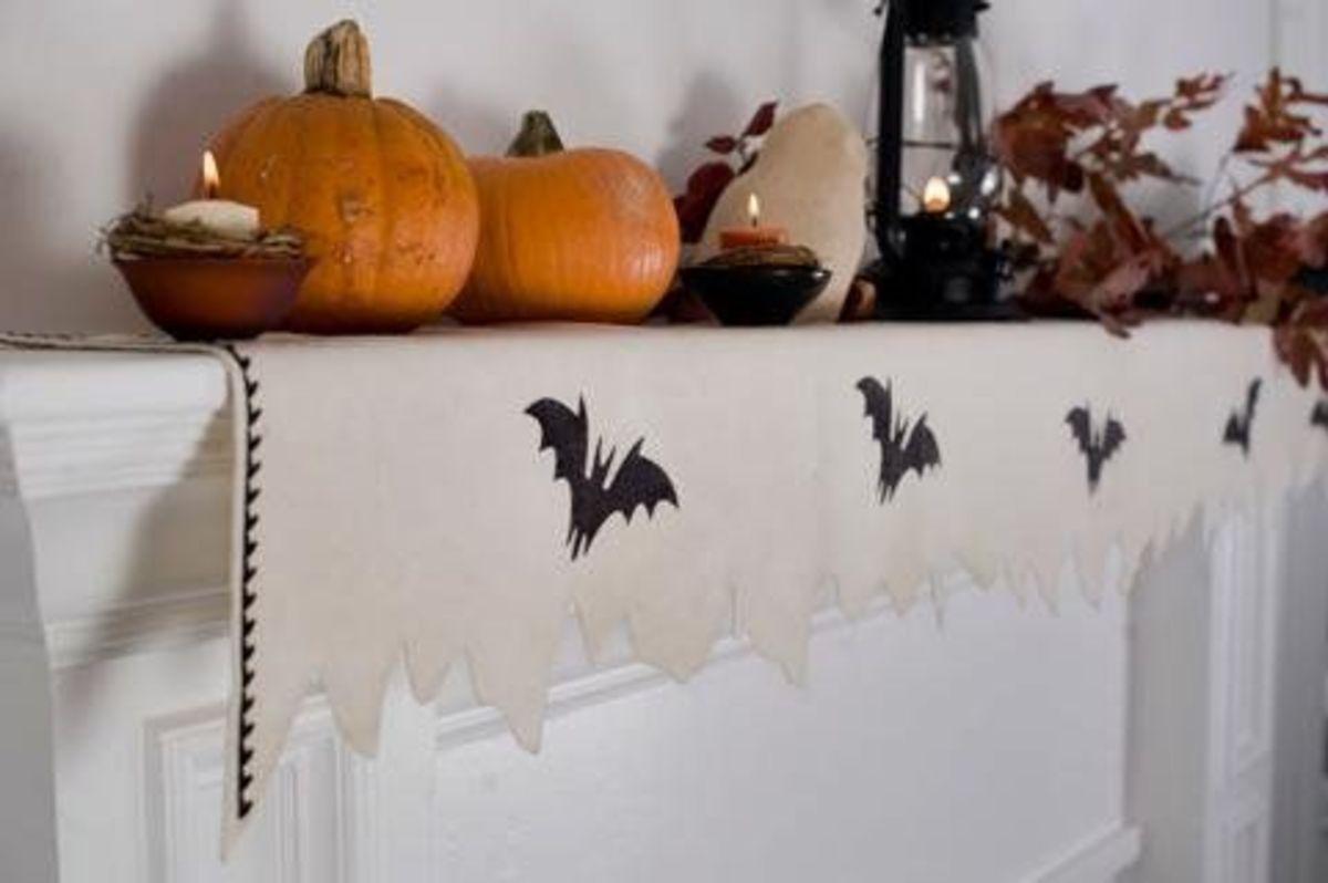 Silhouette of bats on runner.