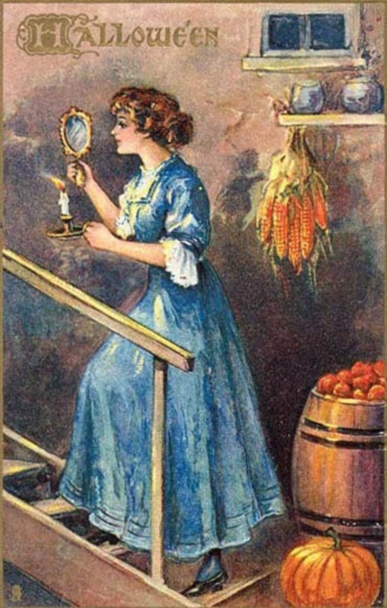 The Victorian practice of divining one's future husband with a mirror and candle, walking backwards down a flight of stairs.