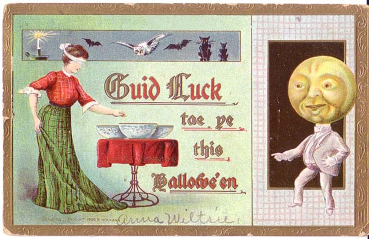A postcard depicting the Luggie Bowls divination game.