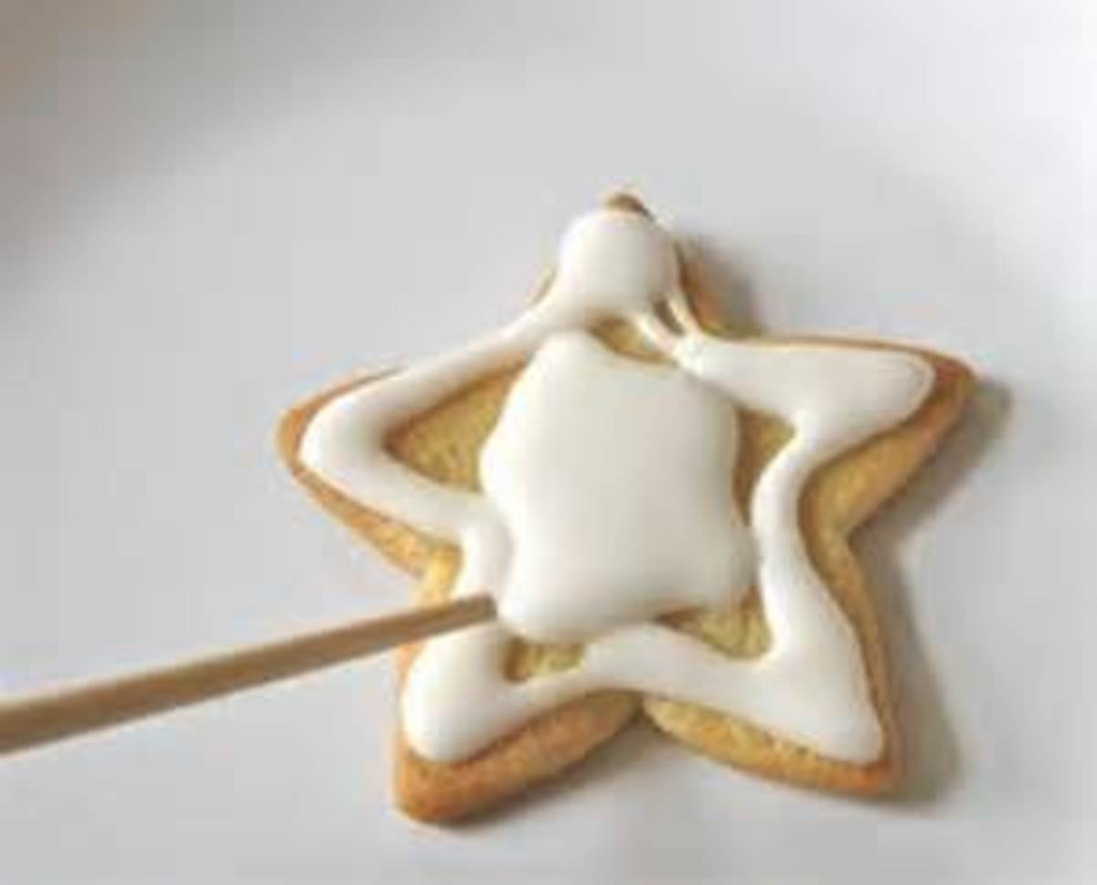 Outline stars then fill with icing
